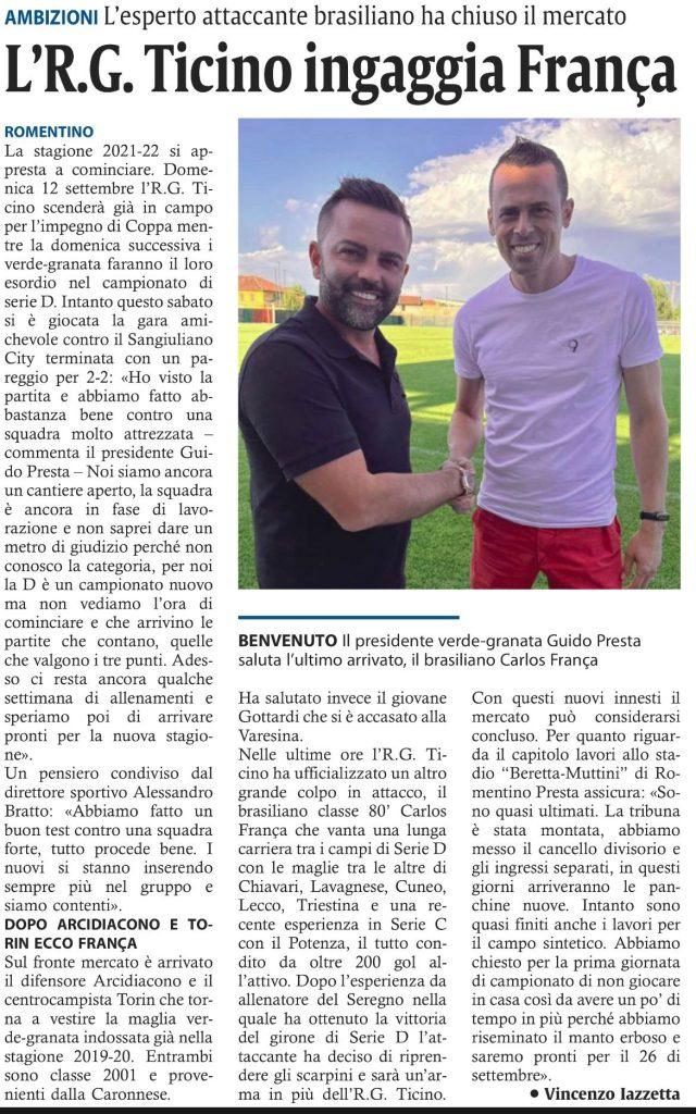 Corriere di Novara del 30/08/21