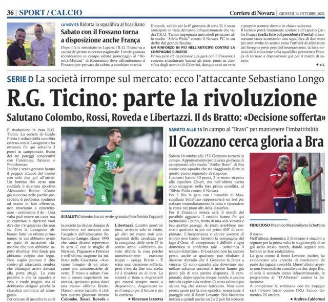 Corriere di Novara del 14/10/21